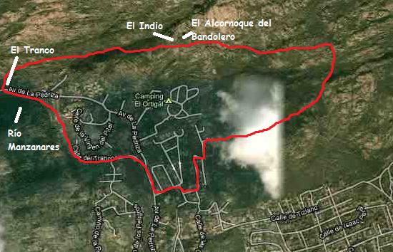 Mapa Ruta el Alcornoque del Bandolero de la Pedriza