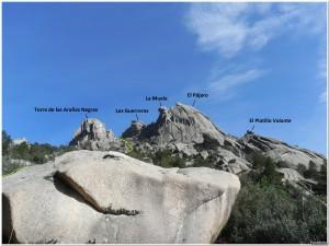 Vistas de la ruta: Torre de las Arañas y Pájaro de la Pedriza