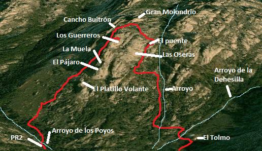 Mapa ruta los Guerreros de la Pedriza