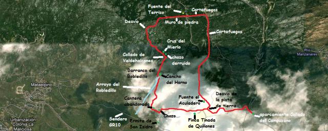 Mapa ruta el bandido de la Pedriza