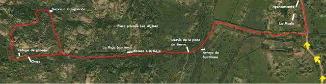 Mapa ruta la Pedriza por la Raja y zona de yacimientos arqueológicos
