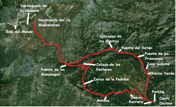 Mapa en la Pedriza por las pozas del río Manzanares