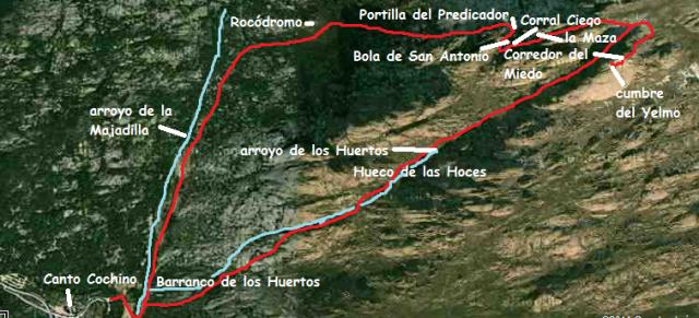 Mapa ruta la Pedriza cumbre del Yelmo por el Corredor del Miedo