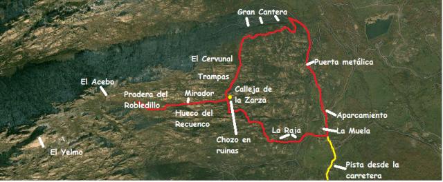 Mapa ruta por la Pedriza desconocida