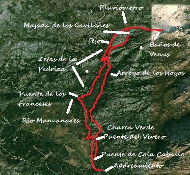 Mapa ruta pozas y cascadas del arroyo de los Hoyos