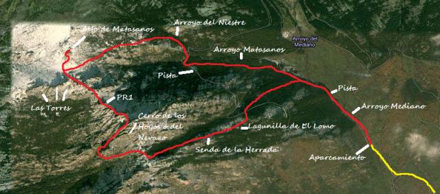 Mapa Ruta Hoya de San Blas al Alto de Matasanos en la Pedriza